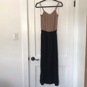 Tan and black maxi dress with waist tie.